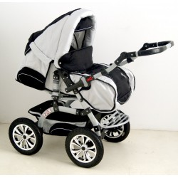 Wózek dziecięcy Krasnal PEIX (jasny szary + czarny)