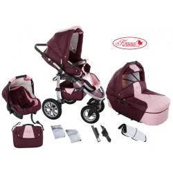 Wózek dziecięcy Krasnal SATURN (bordo + jasny różowy)