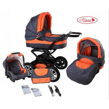 Wózek dziecięcy Krasnal POLARIS (grafit + pomarańczowy)
