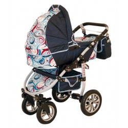 Wózek dziecięcy Krasnal SATURN  (granat + niebieski wzorek)