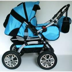 Wózek dziecięcy Szymek LUX (niebieski + czarny)