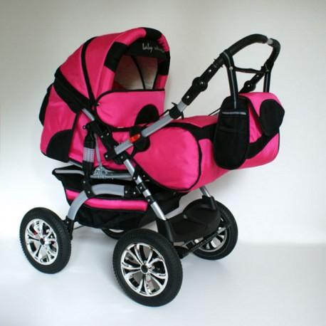 Wózek dziecięcy Szymek LUX (różowy + czarny)
