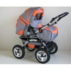 Wózek dziecięcy Szymek LUX BC-01 (grafit + pomarańcza)