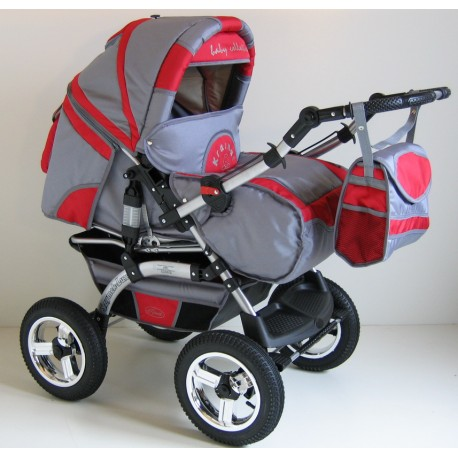 Wózek dziecięcy Szymek LUX BC-02 (grafit + czerwony)