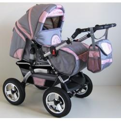 Wózek dziecięcy Szymek LUX BC-03 (grafit + różowy)