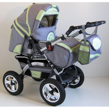 Wózek dziecięcy Szymek LUX BC-04 (grafit + pistacja)