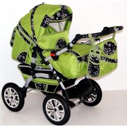 Wózek dziecięcy Szymek LUX (zielony + czarne kwiatki)