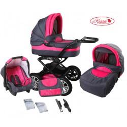Wózek dziecięcy Krasnal POLARIS (grafit + różowy)