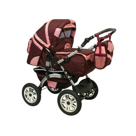 Wózek dziecięcy Szymek LUX 02 (bordo + j.różowy)