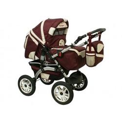 Wózek dziecięcy Krasnal Szymek LUX 17 (bordo + beż)