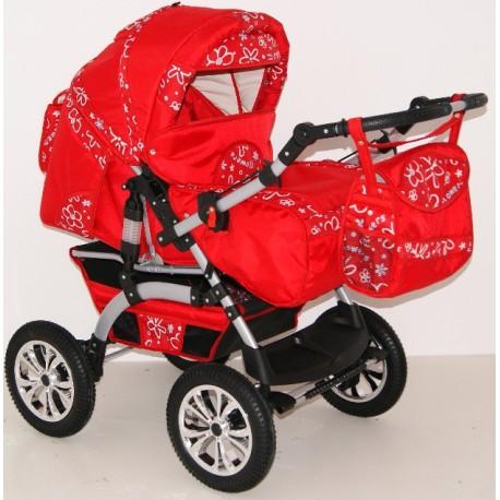 Wózek dziecięcy Szymek LUX F6 (czerwony + czerwone kwiatki)