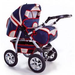 Wózek dziecięcy Szymek NEW 01 (granat + beż/ czerwona lamówka)