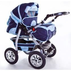 Wózek dziecięcy Krasnal Szymek NEW granat + jasny niebieski