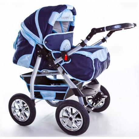 Wózek dziecięcy Szymek NEW 016 (granat + jasny niebieski)