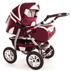 Wózek dziecięcy Szymek NEW 017 (bordo + beż)