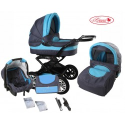 Wózek dziecięcy Krasnal Polaris  (grafit + niebieski)