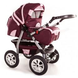 Wózek dziecięcy Krasnal SZYMEK new bordo + j.różowy
