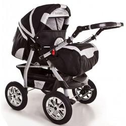 Wózek dziecięcy Krasnal Szymek NEW czarny + srebrny