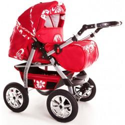 Wózek dziecięcy Szymek NEW F1 (czerwony + białe kwiaty)