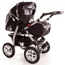 Wózek dziecięcy Krasnal Szymek NEW czarny + białe kwiaty