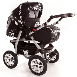 Wózek dziecięcy Szymek NEW F2 (czarny + białe kwiaty)