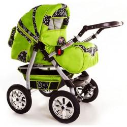 Wózek dziecięcy Krasnal Szymek NEW F7 zielony + czarne kwiaty