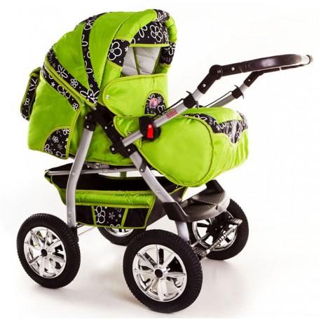 Wózek dziecięcy Szymek NEW F7 (zielony + czarne kwiaty)