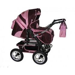 Wózek dziecięcy Diamant 02 (bordo + j.różowy)