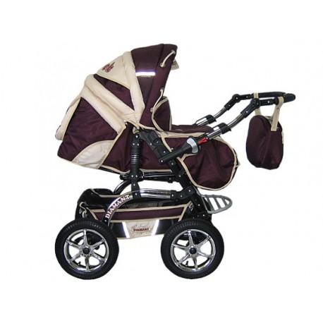 Wózek dziecięcy Diamant 17 (bordo + beż)