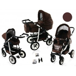 Wózek dziecięcy Krasnal BAVARIO white ( brązowy )