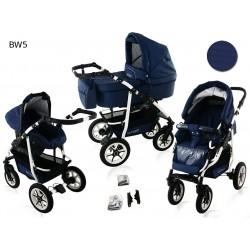 Wózek dziecięcy Krasnal BAVARIO white ( granatowy )