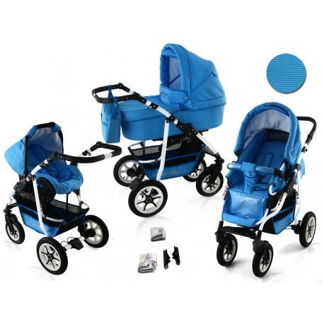 Wózek dziecięcy Krasnal BAVARIO white ( niebieski )