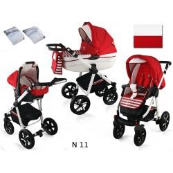Wózek dziecięcy Krasnal NEXXO ( czerwony + paski )