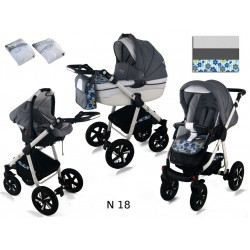Wózek dziecięcy Krasnal NEXXO ( szary + niebieskie kwiaty )
