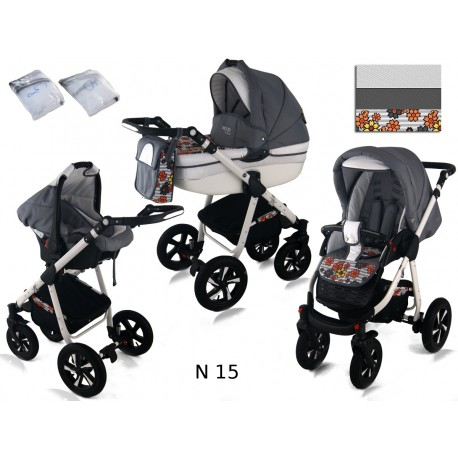 Wózek dziecięcy Krasnal NEXXO ( szary + pomarańcz kwiaty )