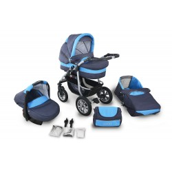 Wózek dziecięcy Krasnal CORAL (grafit + niebieski)