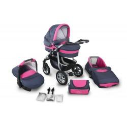 Wózek dziecięcy Krasnal CORAL (grafit + różowy)