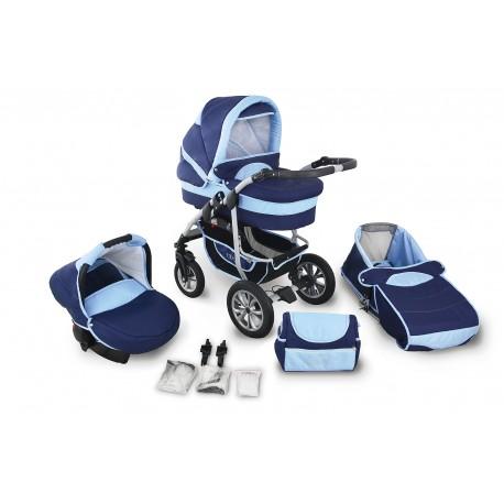 Wózek dziecięcy Krasnal Coral  (granat + jasny niebieski)