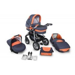 Wózek dziecięcy Coral 1 (grafit + pomarańczowy)