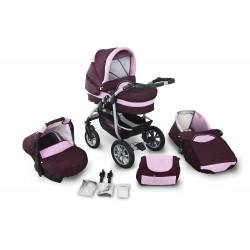 Wózek dziecięcy Coral 02 (bordo + jasny różowy)