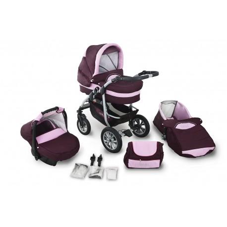 Wózek dziecięcy Krasnal Coral (bordo + jasny różowy)