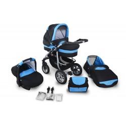 Wózek dziecięcy Coral (czarny + niebieski)