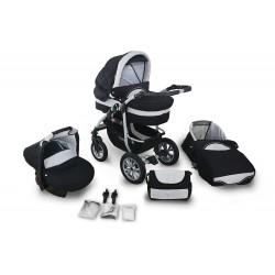 Wózek dziecięcy Coral (czarny + jasny srebrny)