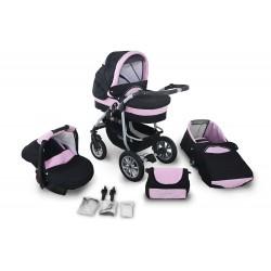 Wózek dziecięcy Coral (czarny + jasny różowy)