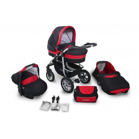 Wózek dziecięcy Krasnal Coral (czarny + czerwony)