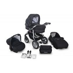 Wózek dziecięcy Coral (czarny + czarny)