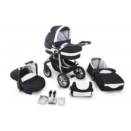 Wózek dziecięcy Krasnal Coral (czarny + biały) + fotelik
