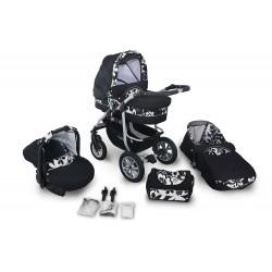 Wózek dziecięcy Coral (czarny + białe kwiatki) + fotelik