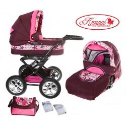 Wózek dziecięcy Polaris (bordo + różowe kwiaty)