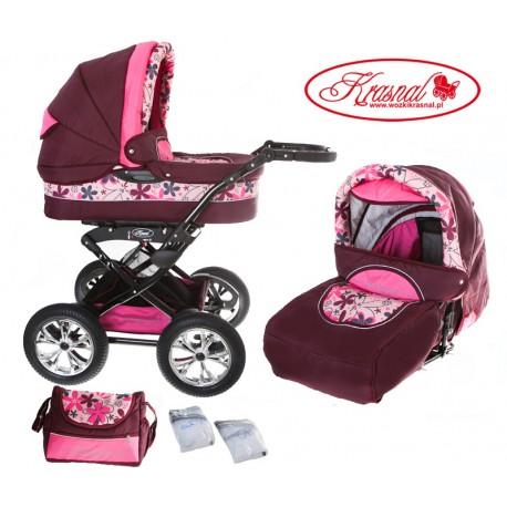 Wózek dziecięcy Krasnal POLARIS (bordo + różowe kwiaty)